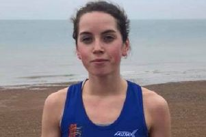 Lizzie Clarke after breaking the ladies' course record at Hastings parkrun. Picture courtesy Terry Skelton
