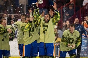 Captain James Ferrara and his PHantoms teammates with the play-off trophy. Photo: �2018 Tom Scott. All rights reserved.