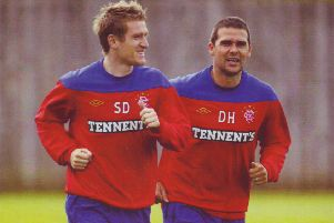 Steven Davis and David Healy in training