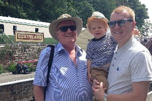 Sleaford man Jamie Aspland pictured with his late father Nigel, and son Jai.