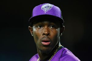 Jofra Archer of the Hurricanes looks on during the Hurricanes v Renegades Big Bash League Match at Blundstone Arena on February 07, 2019 in Hobart, Australia. (Photo by Scott Barbour - Getty Images)