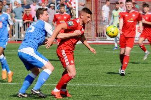 Action from Worthing v Tonbridge Angels on Good Friday. Picture by Stephen Goodger