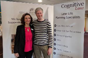 Richard Bates, later life solicitor, with Karen Howell, manager at  Kingsland House in Shoreham