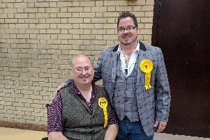 Chris and Billy Blanchard-Cooper at today's election count