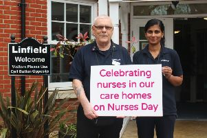 Martin Gallagher with fellow nurse Vigi at Linfield House in Worthing