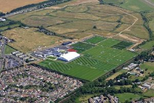 Aerial view of Brighton and Hove Albion Football Club's current training ground in Lancing