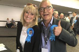 Conservative councillor Steve Bell, with his fellow Woodingdean ward colleague Cllr Dee Simson, celebrating their re-election to Brighton and Hove City Council last week (Credit: Sarah Booker Lewis, local democracy reporter)