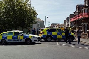 Pier Road in Littlehampton has been closed off