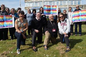 Members of West Sussex County Council's LGBT Staff Group with their rainbow laces.