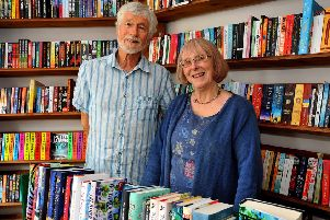 Robin and Sara Bowers in The Steyning Bookshop, which they founded  in 1984. Picture: Steve Robards SR1913920