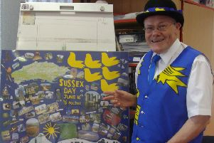 Sussex Day at Bexhill Museum.'Margaret Garcia pics.'Cllr Paul Lendon beside a collage made for him by Libby. SUS-140617-071455001