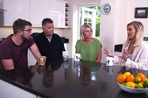 Amy Hart's family with Laura Anderson from Love Island. Picture: ITV