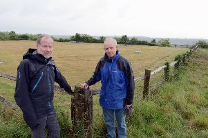 ks190301-1 Highdown Orchids phot kate'David  Bettiss, chairman of Ferring conservation, right, with Graham Tuppen, committee member by the mowed area on Highdown which was covered in orchids.ks190301-1 SUS-191006-203644008