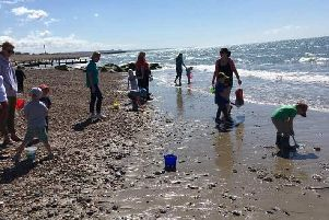Children from Buckingham Playgroup have fun on the beach