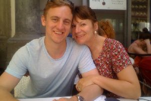 Oliver Hare with his mum Ann Feloy in Sorrento, Italy