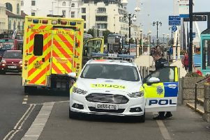 Emergency services at Worthing seafront this afternoon
