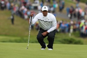 Tiger Woods pictured on Friday morning at the Dunluce links at Royal Portrush Golf Club during round two of the 148th Open Championship. (Photo: Pacemaker)