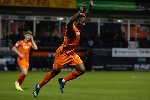 Kazenga LuaLua celebrates a goal in the Checkatrade Trophy last season