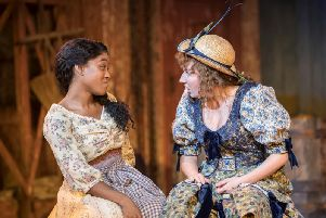 Amara Okereke as Laurey and Bront Barb as Ado Annie in OKLAHOMA - pic by Johan Persson