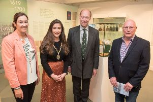 Derry City and Strabane District Council Deputy Mayor, Councillor Cara Hunter pictured with Roisin Doherty, Curator, Tower Museum, Edward Montgomery, The Honourable The Irish Society and Dr. Brian Lacey pictured at the opening of the Walled City, 400 years exhibition in the Tower Museum. Picture Martin McKeown. 19.07.18