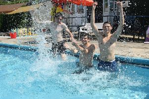 L-R Daniel Doherty, Joshua Pace and Logan Bovington at Billinghay Swimming Pool. EMN-190726-092627001