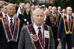 Gregory Campbell MP taking part in Saturday's parade. DER3319-129KM