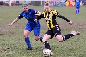 Crawley Wasps skipper Naomi Cole (right) in action against Leyton Orient. Picture by Ben Davidson Photography