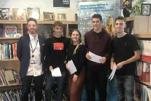 Shoreham Academy students collecting their results