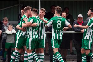 Chi City players celebrate one of the goals that beat Erith in the FA Cup - and they had more cause for joy when they won at Ramsgate / Picture by Neil Holmes