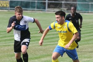 Lewis Finney hit a hat-trick in Lancing's win over Crawley Down Gatwick. Picture by Derek Martin