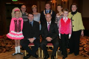 Elizabeth McConomy, standing, third from left, at the launch of an Ulster Feis several years ago. Elizabeth is currently fighting cancer.