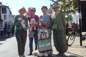 Volunteers Carley Sitwell, Debbie Carter, Helen Cato and Ping Jiang with the toys they will bring to the car free day event in Chichester, if the road closure order is reinstated
