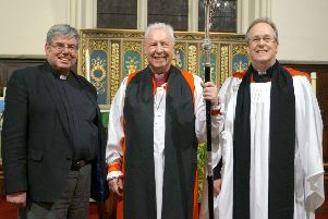The Rev Steve Johnson, right, at his Rural Dean comissioning in 2017, with the Rt Rev Christopher Lowson and outgoing rural dean, the Rev Canon Ian Robinson EMN-190917-103625001