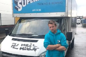 Ben Hampson with the graffiti