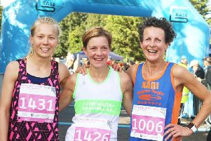 Fay Cripps, centre, with runner-up Alice Sowden, left, and third-placed Kari Mack / Picture by Derek Martin