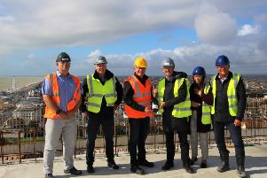The 'topping out' ceremony at Bayside Apartments in Worthing, to mark the developers reaching the highest point of the development.