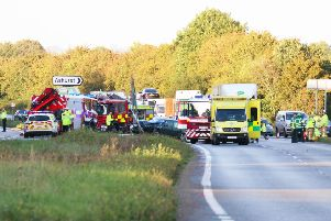 The A24 has been closed due to a serious crash