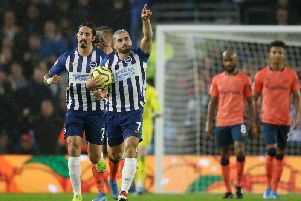 Brighton and Hove Albion striker Neal Maupay scored his fourth goal of the season against Everton