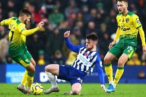 Aaron Connolly goes on the attack against Norwich City
