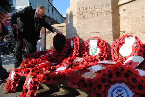 A wreath is laid at Shoreham's war memorial this Remembrance Sunday