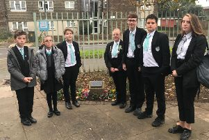 Students at the memorial garden