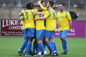 Lancing celebrate Alex Fair's goal against Sutton Common Rovers. Picture by Derek Martin.