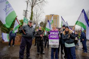 Press Eye - Belfast - Northern Ireland - 5th December 2019''NHS workers from a picket line at the Belfast City Hospital in Belfast as part of continuing strike action in the health service. ''Picture by Philip Magowan /PressEye