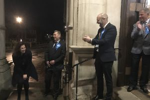 Caroline Ansell arriving at the Town Hall in Eastbourne ahead of the election result SUS-191213-030307001