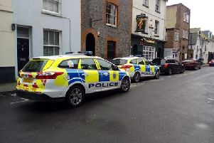 Police vehicles in Ann Street