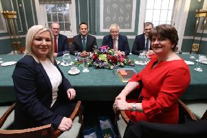 First Minister Arlene Foster and Deputy First Minister Michelle O'Neill meeting the Prime Minister and the Toaiseach yesterday