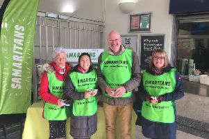 Worthing Samaritans volunteers handing out free tea at Worthing railway station for last year's Brew Monday