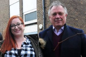 April Baker, homelessness services manager at Turning Tides, with chief executive John Holmstrom
