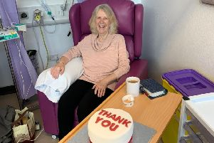 Helen Preece, from Yapton, relies on blood transfusions to treat a rare form of blood cancer. She recently had her 100th transfusion and a friend made a cake with a red filling to mark the occasion.