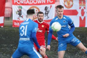 Stephen Murray (centre) made his Portadown debut on Saturday following a midweek move from Glenavon.